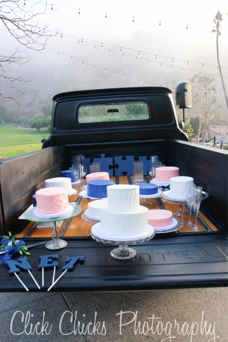 Such a cute idea to have the cakes in the truck bed. All different, too. Nikki's favorite is blue velvet. That's a new one on me.